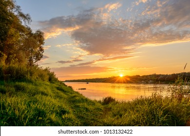 Nature of Russia. Colorful sunset over the river Oka.