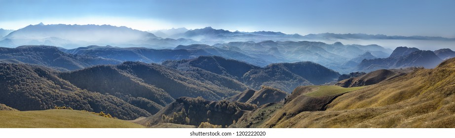 nature of Russia, the North Caucasus, landscape panorama with mountains