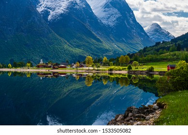 nature scenarios around  HjorundFjorden during spring season, Norway
