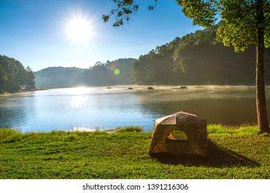 Nature scene of lake and pine tree forest at Pang Tong reservoir (Pang Ung), Mae Hong Son, Thailand