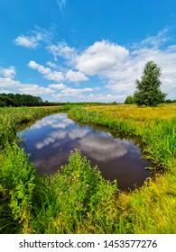 Nature scene with lake shaped like a heart