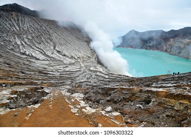 Nature scenery of Kawah Ijen volcano and sulfur smoke on sulfur lake at Banyuwangi of East Java, Indonesia, Kawah ijen have Blue fire crater and Sulfur mining.