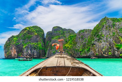 Nature scenic landscape Phi Phi island Krabi view from boat for travelers, Adventure water travel Phuket Thailand joy fun sea beach, Tourism beautiful destination Asia summer holidays vacation trips