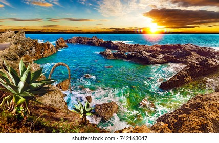 Nature scenic seascape in Canary Island. Travel adventures landscape in Spain.Tenerife