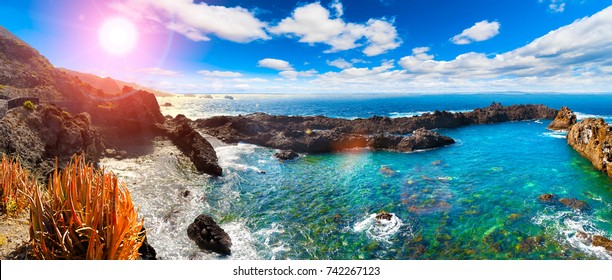 Nature scenic seascape in Canary Island.Tenerife.Travel adventures in Spain.Sunset scenery