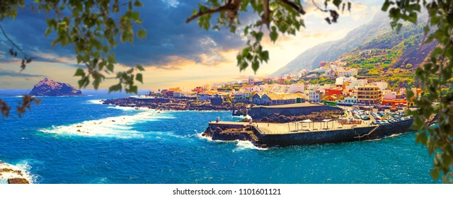 Nature scenic seascape in Canary Island.Travel adventures landscape in Garachico village.Tenerife island scenery.Ocean and beautiful stone,Garachico beach
