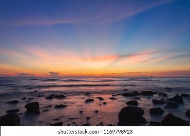 Nature Sea Sunset Beach Rock at Ko Chang District, Trat Province, Thailand