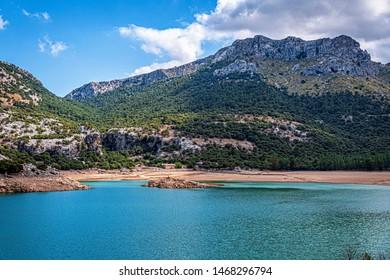 nature in the sierra de tramuntana, lake and mountains, mallorca, spain