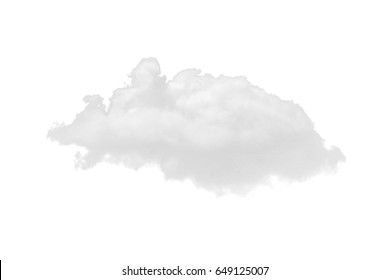 Nature single white cloud isolated on white background. Cutout clouds element design for multi purpose use.