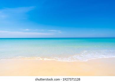 Nature tropical beach sea. Beautiful beach blue sea water. Blue sky background. South of thailand At Phuket Thailand. Beach space area
