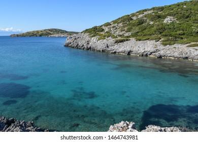 Nature of Turkey near the island of Gorecek, Bitez peninsula and Aquarium bay near the Bodrum and Gumbet. Aegean sea