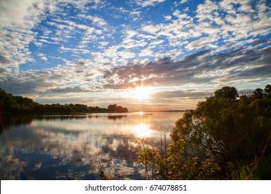 Nature of Ukraine. A beautiful sunset on the Dnieper river flood. Landscapes of Ukraine. Poltava region.