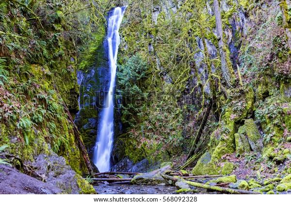Nature of Vancouver Island -Niagara falls closeup in Goldstream Park, Vancouver Island 3.