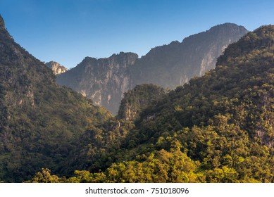 Nature view of Doi Luang Chiang Dao mountain with blue sky,the famous mountain for tourist to visit in Chiang Mai,Thailand.