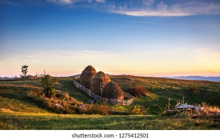 Nature view with haystack in mountain with sky and mountains background, Durmitor on the way to Black Lake - Crno Lake, from Zhablyak, beauty sky sunset