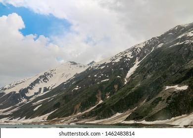 Nature  view of snow capped mountain range. Babusar pass, Khyber Pakhtunkhwa, Pakistan.