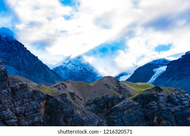 Nature view with snowy peaks in Annapurna Conservation Area, a hotspot destination for mountaineers and Nepal's largest protected area.