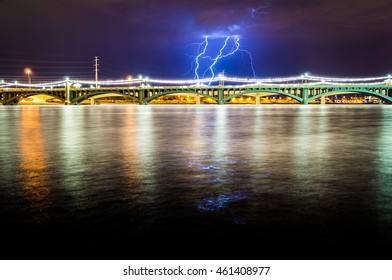 Nature vs. Architecture. A stormy monsoon season in Tempe, AZ brings about multiple random thunderstorms with very active lightning clouds.