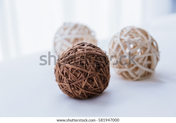 nature weave texture docorate ball with white background