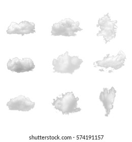 Nature white clouds collection isolate on white background. Cutout clouds element design for multi purpose use