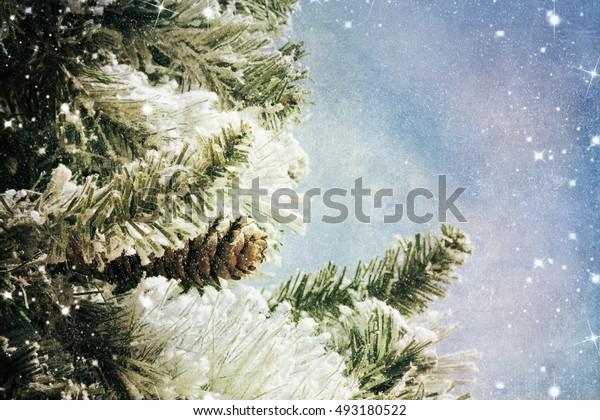 Nature winter background with lighten bokeh