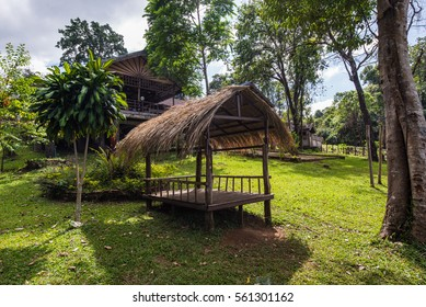 Nature wooden houses huts in a Asia vietnam
