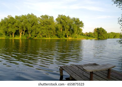 Nature.Beautiful summer landscape, trees, pond, river.