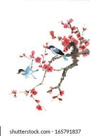 nature,Chinese element--bird and plum blossom