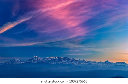 """Nature's Creations...""  An Amazing view of Himalayas with Great Morning Colours & Cloud Creations by Nature.  - from Kausani, Uttarakhand, India"