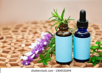 Naturopathic medicine showing a holistic approach using natural plants and herbs in glass bottles.