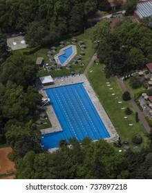 Naucalpan, Estado de México, March 16, 2015: aerial view of exclusive sport club showing the swimming pool