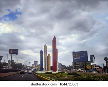 NAUCALPAN, MEXICO-August 12, 2017. Torres de Satelite (Satellite Towers) monument. Five iconic triangular towers.