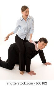 A naughty female office worker sits astride a male colleague who looks to be enjoying it!
