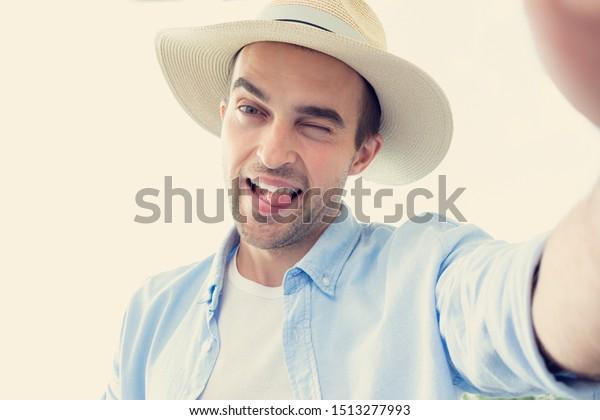 Naughty Man Hat Takes Selfie Man Stock Photo Edit Now 1513277993