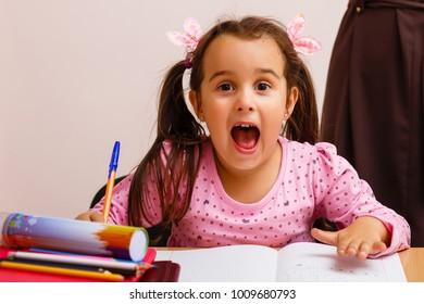 naughty schoolgirl in school class