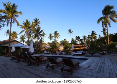 Naukacuvu, Fiji - August, 2017. The adults only section of a resort (Paradise Cove Resort) on the island of Naukacuvu, Yasawa Islands, Fiji