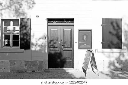 NAUMBURG, SAXONY-ANHALT, GERMANY - October 21, 2018: Exterior of Nietzsche-Haus.