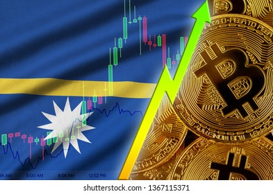 Nauru flag and cryptocurrency growing trend with many golden bitcoins