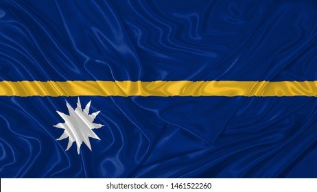 Nauru Flag of Silk, Flag of Nauru fabric texture background.