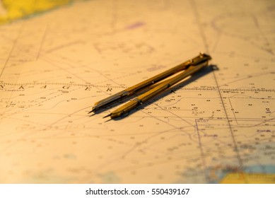 Nautical chart with divider