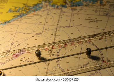 Nautical chart with ruler