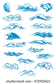 Nautical or marine themed set of blue breaking ocean waves in different design elements