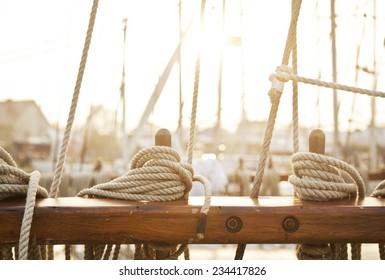 Nautical mooring rope, sunset light