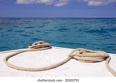 Nautical Scene of a coiled rope on a boat at Sea in Bermuda
