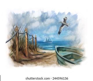 nautical sea shore dunes boat seagull Vintage painting
