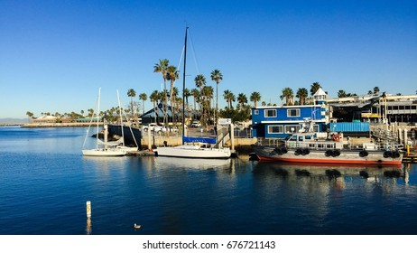 Nautical vessels moored at harbor, Redondo Beach