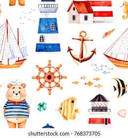Nautical watercolor seamless pattern.Multicolored background with cute sailor bear,anchor,lighthouses,coral fishes,sailboat. Perfect for invitations,party decorations,printable,craft project,wallpaper