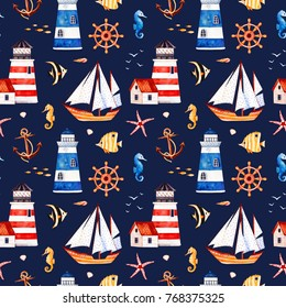 Nautical watercolor seamless pattern.Multicolored background with starfish,anchor,lighthouses,coral fishes,sailboat. Perfect for invitations,party decorations,printable,craft project,wallpaper etc