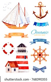 Nautical watercolor set. Ocean creature with anchor,lighthouse,ribbon and bow,bunting flags,sailboat etc.Perfect for invitations,party decorations,printable,craft project,greeting cards,blogs.
