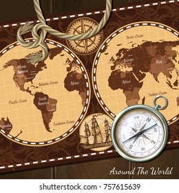 Nautical world retro map in brown colors and compass realistic vintage background  illustration